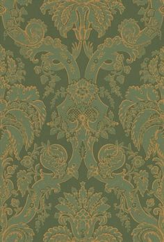 Little Venice Olive (ZPEW09004) - Zoffany Wallpapers - A re-creation of this 1920's damask design with matt inks overprinted with metallics. Shown here in shades of olive green, outlined in metallic gold. Other colours available. Paste the wall - wide width. Please request sample for true colour match.