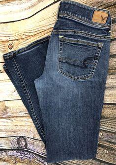 American Eagle Womens Sz 8 Kick Boot Cut Jeans Dark Distressed Denim Low Rise #AmericanEagleOutfitters #BootCut