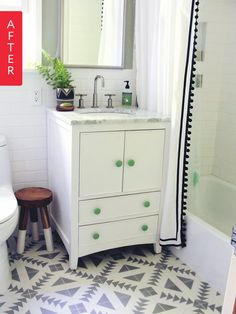A dated 1950's bathroom that wasn't pretty and was filled with mildew transformed into this personality filled, unique, and modern space in a few easy steps! DIY bathroom renovation inspiration!