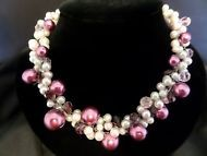Stunning Artisan Made Faux Pearl & Cultured Freshwater Pearl Necklace #1447