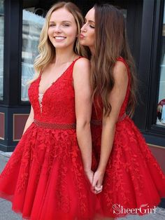 62290d16512d2 Red Lace Applique Homecoming Dresses V Neck Tulle Short Prom Dress ARD1473.  SheerGirl