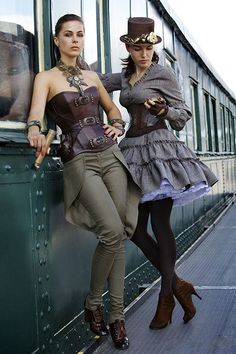 Two Ladies in Steampunk Clothing - From Steampunk Fashion Guide. For steampunk costume tutorials, fashion guide, photo gallery of fashion inspiration and calendar of Steampunk events worldwide, visit SteampunkFashionGuide.com