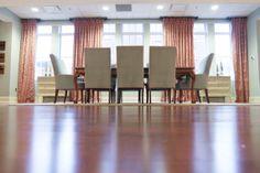 Dining Room Seating | Classy Conference Area | Hardwood Flooring | Beautiful Draperies | L & M Interior Design