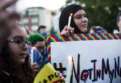 """""""I saw many gestures of solidarity and sympathy for the L.G.B.T. community. But behind those posts is a history of silence on gay rights."""" This Op-Ed is a must-read as the muslim community confronts its treatment of homosexuality. (Photograph of a vigil in Seattle honoring the victims of the shooting in Orlando, Fla.: Lindsey Wasson/The Seattle Times, via Associated Press)"""