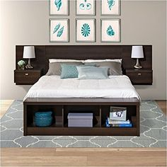 diy Bed Frame floating - Prepac Series 9 Designer Platform Storage Bed with Floating Headboard in Espresso Floating Headboard, Headboard With Shelves, Bed With Shelves, Bookcase Headboard, Floating Bed Frame, Wood Headboard, Making Shelves, Black Headboard, Modern Headboard