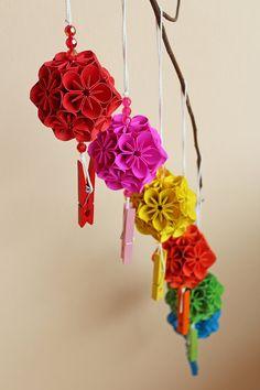 Origami kusudama flower ball by ThaiPaperCraft on Etsy