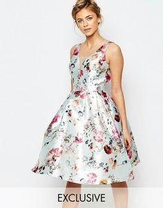 Su Asos Chi Chi London - Vestito a pieghe con scollo profondo e stampa floreale perfetto per un matrimonio € 87,99
