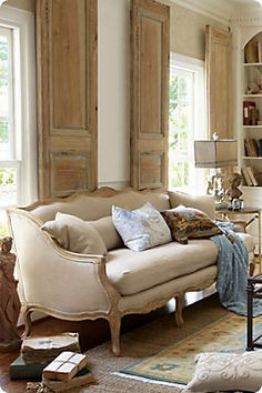 Love the interior shutters Belle Bergere Sofa from Soft Surroundings French Decor, French Country Decorating, Country French, Beige Living Rooms, Living Room Decor, Dining Room, Dining Table, Easy Home Decor, Cheap Home Decor