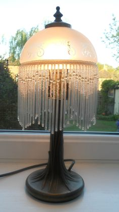 ART NOUVEAU STYLE TABLE LAMP WITH ETCHED FROSTED GLASS SHADE & BEADED FRINGE ~ SOLD ON MY EBAY SITE LUBBYDOT1