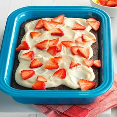 Cola Cake with Strawberries & Cream Recipe -We Southerners have been eating cola cake for decades. This easy version has strawberries, too. Chill it in the fridge for a dreamy summer dessert. —Peggy Walpert, Fort Worth, Texas