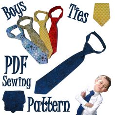 Boys Neck Tie PDF Sewing Pattern by JasmineArtWorks on Etsy, $4.90