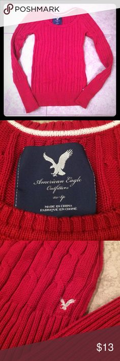 American Eagle Sweater Red American Eagle Sweater. Great condition! American Eagle Outfitters Sweaters Crew & Scoop Necks