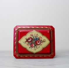 Vintage Red Floral Tin - Metal Tin Container Made In Holland - Vintage Biscuit Candy Collectible Tin by Suite22 on Etsy