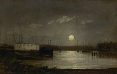 Untitled (Moon Over a Harbor) - Edward Mitchell Bannister