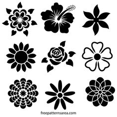 Flower Stencil Designs Printable stencil design collection consisting of flowers such as hibiscus, r Stencil Patterns, Stencil Designs, Designs To Draw, Motif Vector, Flower Patterns, Flower Designs, Flower Design Vector, Flower Pattern Design, Silhouette