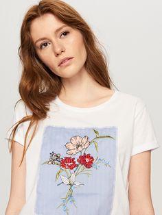 T-shirt z motywem w kwiaty, RESERVED, SU858-00X