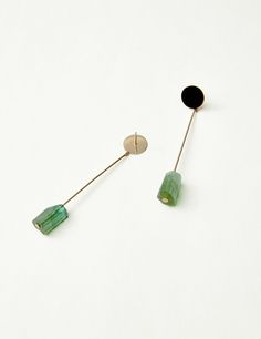 Green Tourmaline Drop Earrings | Kathleen Whitaker