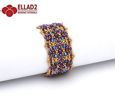 Tutorial Lantana Bracelet by Ellad2 _ Seed beads 11/0, 8/0, 15/0 – Superduo beads – O-beads – Round pearls 3 mm and 4mm – Swarovski bicones 4mm