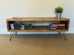 Rustic Wood TV Stand | Living Room Table | Side Table Made From Reclaimed Scaffold Boards on Hairpin Legs - Industrial Urban by CoastalFurnitureUK on Etsy https://www.etsy.com/uk/listing/475361121/rustic-wood-tv-stand-living-room-table
