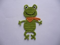 Frosch mit Halstuch -  Häkelapplikation