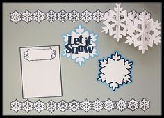 "Create this beautiful ""Let it Snow"" bulletin board for your classroom!  Juliana Michaels used the new Cricut Craft Room Exclusives Classroom-December & January images for this darling project! #Cricut"