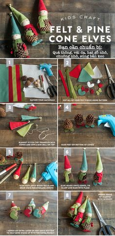 Tự chế đủ kiểu đồ trang trí Giáng sinh đáng yêu từ quả thông 3