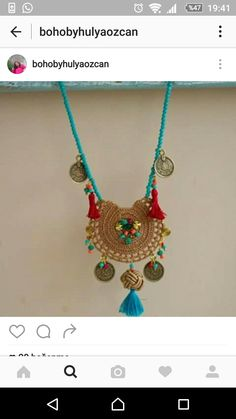 Jewelry Crafts, Jewelry Art, Beaded Jewelry, Jewelry Design, Boho Necklace, Crochet Necklace, Fabric Jewelry, Jewelry Packaging, Crochet Accessories