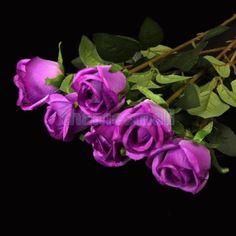 $10   6pcs-Purple-Artificial-Fake-Silk-Rose-Flower-Plant-Wedding-Party-Room-Decoration