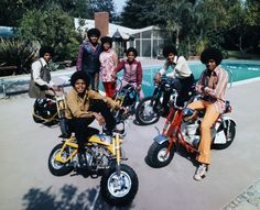 """With their parents standing by, 13-year-old dynamo Michael (front left) and his brothers Jackie, Marlon, Tito, and Jermaine straddle their motorbikes by the pool. """"It was very controlled,"""" Olson says of the shoot. """"As I remember, they followed my requests to a T, and were incredibly polite. The dad was pretty stern."""" Indeed, Joe — who had been a crane operator in Gary, Indiana, just three years before — hinted at the relentless drive toward fame that Michael would later regret. """"It wasn't ha..."""