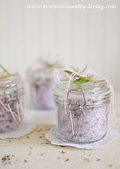 Bath salts provide many therapeutic benefits. See how easy it is to make your own Lavender Rosemary Bath Salts and enjoy their restorative qualities.