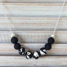 Silver nights  silver and black necklace polymer by Rubybluejewels