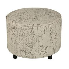 Features:  -French script pattern beige fabric.  -Piping detail.  -Non marking plastic leg.  Design: -Standard.  Upholstery Color: -Beige.  Finish: -Black.  Hardware Finish: -Stainless Steel.  Frame M