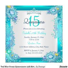 Shop Sweet 16 Sweet Sixteen Teal Blue Ocean Jewel Invitation created by Zizzago. Photo Birthday Invitations, Bachelorette Party Invitations, Quinceanera Invitations, Baby Shower Invitations, Quinceanera Ideas, Corporate Invitation, Invitation Paper, Invite, 15th Birthday