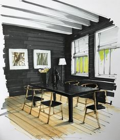 Amazing use of black . Dining Room sketch, sketching, texture, interior design, … - All For Garden Interior Architecture Drawing, Interior Design Renderings, Drawing Interior, Interior Rendering, Interior Sketch, Interior Design Tips, Architecture Design, Rendering Walls, Room Sketch