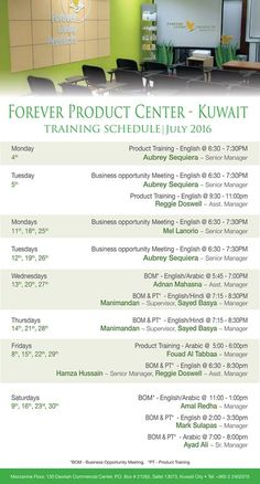 Forever Product Center - Kuwait TRAINING SCHEDULE  July 2016