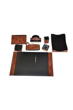 Wooden Karizma Desk Set Rose Black 9 Accessories In 2020 Desk Set Wooden Roller Pen