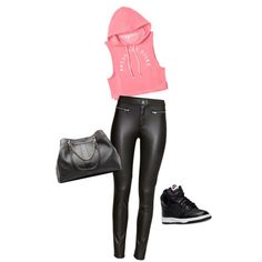 A fashion look from March 2015 featuring Victoria's Secret hoodies, H&M pants and NIKE sneakers. Browse and shop related looks.