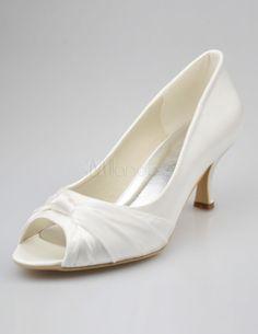 Schöne Damen Brautschuhe mit Peeptoes und niedrigen Heels - Milanoo.com