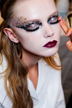 Frida Gustavsson backstage at Christian Dior Couture show The eye make up is so magical. Makeup Art, Hair Makeup, Makeup Ideas, Gem Makeup, Crazy Makeup, Doll Makeup, Makeup Blog, Makeup Style, Makeup Trends