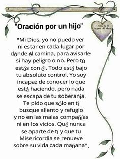 Por un hijo Posted August 2017 God Prayer, Prayer Quotes, Bible Quotes, Bible Verses, Christ Quotes, Scriptures, Son Quotes, Daily Prayer, Spanish Prayers