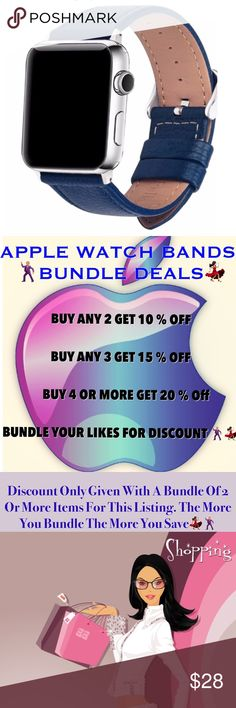 Premium  Leather Apple Watch Band Blue Beautiful Leather Apple Watch Band In A Gorgeous Blue Color •Fits Series 1,2 & 3  •38mm •Premium Cowhide Leather  •Pin Buckle Design •Brand New In Sealed Package •Same Or Next Business Day Shipping Accessories