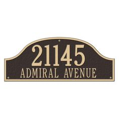 Admiral Estate Arch Bronze/Gold Wall Two Line Address Plaque