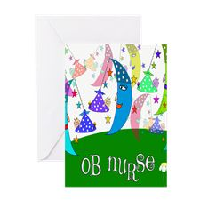 OB Nurse Moons Babies Greeting Cards