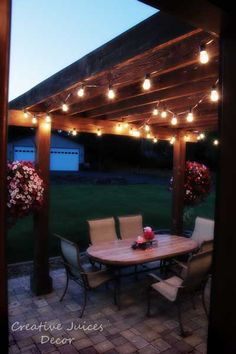 Adding String Patio Lights To the Pergola! The best prices I found on good black wire hanging industrial looking patio lights. I researched for a LONG time! Commercial quality for not a ton of money. Adds so much character to your backyard landscape! Summer trellis/porch landscape
