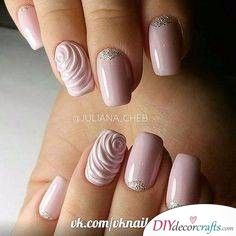 In search for the perfect wedding nails for bride? Take a look through our collection of 30 gorgeous wedding nail ideas and find some inspiration! Rose Nails, Flower Nails, 3d Nails, Pink Nails, Nail Art Rose, Nail Art 3d, Silver Nails, Rose Nail Design, Cute Nail Art