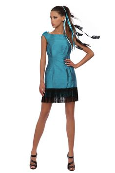 Robe dos nu en soie sauvage bleu canard #RobeDeSoiree