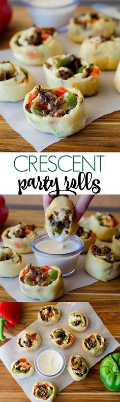Philly Cheese Steak Crescent Pinwheels - Life In The Lofthouse Finger Food Appetizers, Easy Appetizer Recipes, Yummy Appetizers, Appetizers For Party, Snack Recipes, Cooking Recipes, Sandwich Recipes, Party Snacks, Yummy Recipes