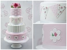 Cath: A Fashionable four-tier wedding cake inspired by Cath Kidston, with extra-deep tiers, embossed roses, hand-painted bunting and signature roses.