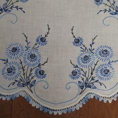Vintage Embroidered Blue and White Cornflower by shabbyshopgirls