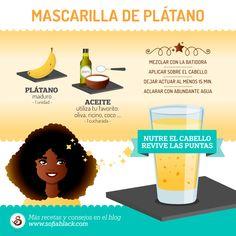 Nutre el cabello y revive las puntas con esta mascarilla de plátano. ~ Receta para un cabello natural saludable #DIY. Más consejos y trucos en el blog SofiaBlack.com